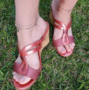 Mootsies Tootsies Pearly Pink Strappy Cork Wedges